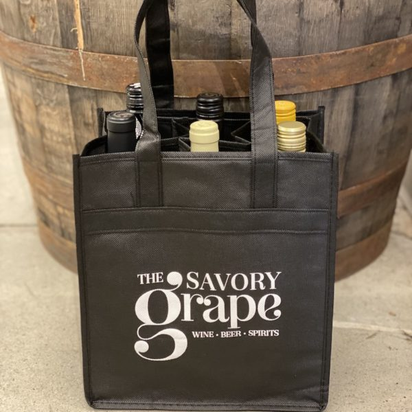 savory grape wine carrier tote