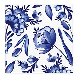 blue floral print cocktail napkins - beverage napkins for sale online
