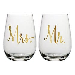 mr. and mrs. stemless wine glass set - wine glasses for sale online