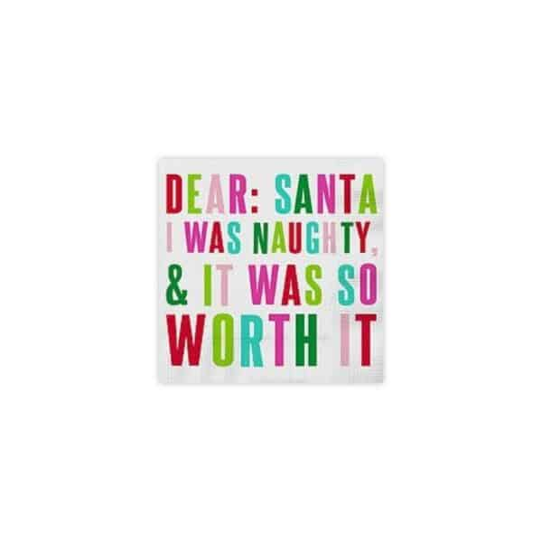 dear santa i was naughty it was so worth it cocktail napkins - cocktail napkins for sale online